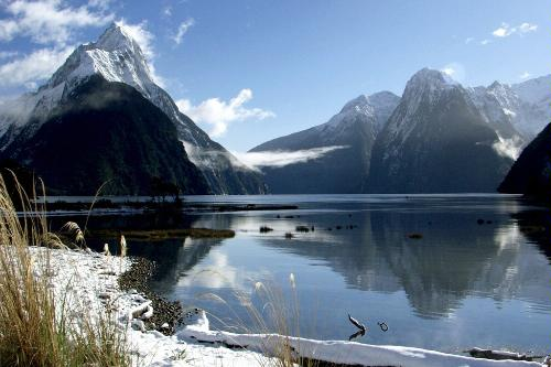 Snow on the ground in Milford Sound, New Zealand.