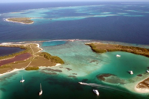View of Los Roques from a propeller plane.
