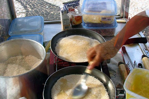 Making tapiocas (crepes) in Copacabana Beach, Rio.