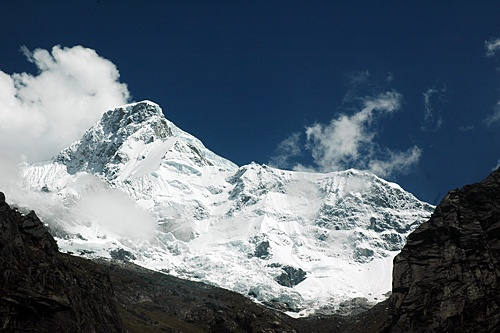 The summit of Huascaran in the Peruvian Andes.