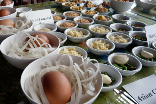 Noodles, eggs and other ingredients at a Thai cooking class.