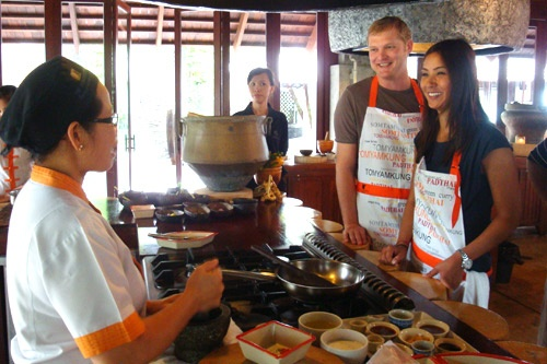 Cooking demonstration at Ginja Cook Cooking School at the JW Marriott Resort and Spa in Phuket, Thailand. Photo: Courtesy Ginja Cook Cooking School