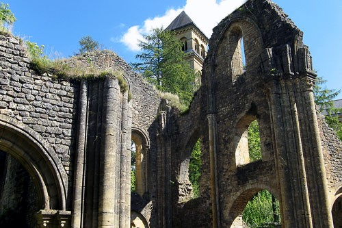 Ruins of the original Orval Abbey in Belgium