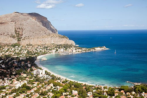 The north coast beach of Mondello is a lovely crescent easily accessible from Palermo.