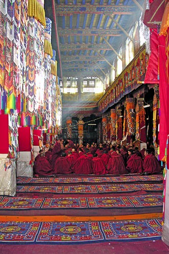 Monks in Lhasa, Tibet.