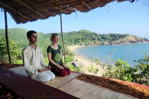 Meditation at SwaSwara yoga retreat in Karnataka, India. Courtesy of SwaSwara