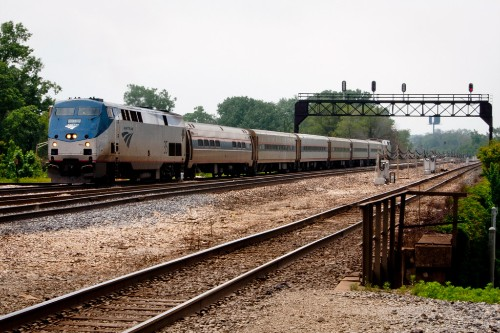 "Amtrak Lincoln Service train approaches Joliet Union Station, Illinois. Photo by <a href=""http://www.flickr.com/photos/vxla/5779547634/"" target=""_blank"">vxla/Flickr.com</a>."