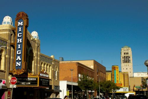 The Michigan Theater, State Theater and the Burton Memorial Tower in Ann Arbor, Michigan.