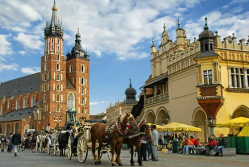 The main square of Old Town Krakow