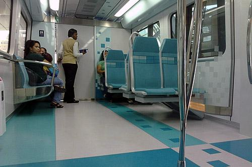 Inside a new Dubai Metro train.