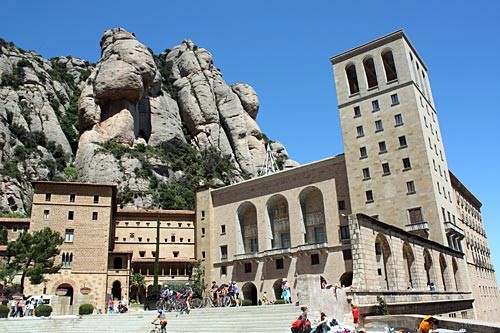 The Basilica of Montserrat can be reached by road or train and aerial cable car; from there, take a funicular to the peak.