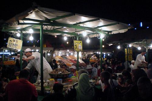 Escargot stands in the bustling Jemaa el Fna night market in Marrakech.