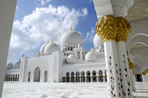 Sheikh Zayed Bin Sultan Al Nahyan Mosque in Abu Dhabi, UAE is the third biggest mosque in the world