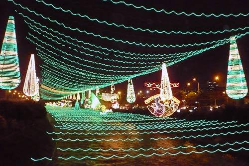 Holiday lights strung across the Rio Medellin, Colombia.