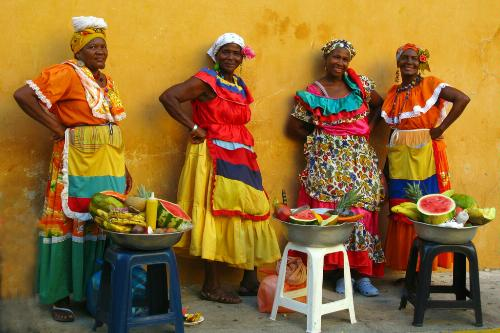 Exotic fruits are sold by palenqueras, fruit vendors who walk around the streets of Cartagena, Colombia.