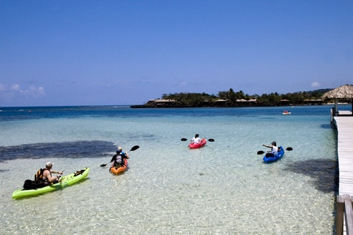 Kayaking in the clear waters at Anthony's Key Resort, Roatan, Honduras. Photo: Courtesy Anthony's Key