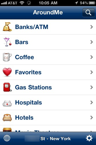 "This Google ad-supported app utilizes your iPhone's GPS to find your current location, then provides categorized lists of nearby shops, restaurants, and even hospitals. The app doesn't offer any reviews, but plots business locations on a map, which can be saved as a contact with just one click. AroundMe requires a data connection for use, so it's better suited for domestic travel than trips abroad.<br><br><strong><a href=""http://itunes.apple.com/us/app/aroundme/id290051590?mt=8"" target=""_blank"">Find AroundMe in iTunes</a></strong>"
