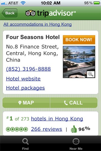 "One of the Web's most popular travel review websites has made its way to the iPhone. This Web-based app pairs your GPS coordinates with content from the TripAdvisor website, so you'll need a data connection to use it. You can see ratings, read reviews and book hotels directly from the app, making it an excellent resource for last-minute planners.<br><br><strong><a href=""http://itunes.apple.com/us/app/tripadvisor-hotels-flights/id284876795?mt=8"" target=""_blank"">Find TripAdvisor in iTunes</a></strong>"