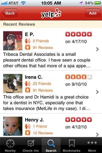 "With user reviews of businesses in virtually every city in the United States, Yelp has become a priceless resource for consumers. Looking for a new dentist? Search for their name on Yelp to pull up dozens of recent user reviews. The same goes for restaurants, and virtually any type of business imaginable. The app also offers a Nearby mode, replicating some of the functionality in my next favorite app, AroundMe. <br><br><strong><a href=""http://itunes.apple.com/us/app/yelp/id284910350?mt=8"" target=""_blank"">Find Yelp in iTunes</a></strong>"