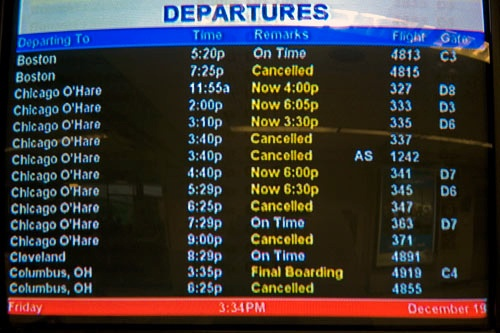 Canceled and delayed flights from New York City's LaGuardia Airport to Chicago O'Hare.