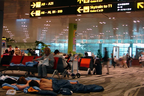 Sleeping on the floor at the Singapore airport and waiting out the volcanic ash cloud.
