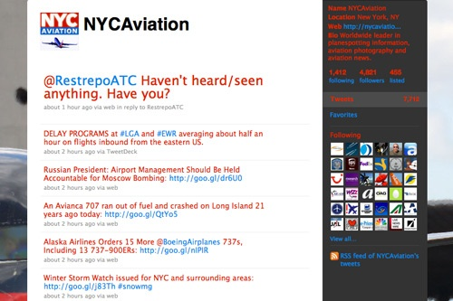 "<strong>Who to Follow:</strong> <a href=""http://twitter.com/NYCAviation"" target=""_blank"">@NYCAviation</a><br><br>I learned about these guys when they were featured on <em>The Today Show</em> for their plane-spotting group, but these aviation geeks do so much more. They are on top of aviation news, history, and flight delays. If there's ever breaking travel news, these guys are usually the ones spreading the word, since they monitor air traffic control all over the country.<br>"