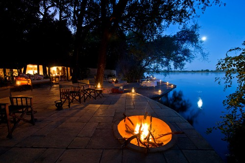 Tongabezi Lodge, Livingstone Island, on the Zambezi River in Zambia.