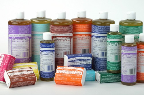 "Dr. Bronner's family of all-natural, organic ""magic soap."""