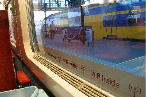 A double-decker train seen inside a WiFi equipped Thalys train on Eurostar.