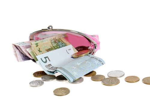 Change purse with different currencies.