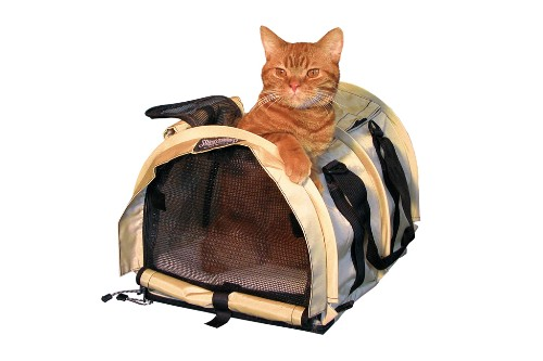 "Pet carrier by SturdiBag, $79.95. <a href=""http://www.pettravelstore.com/products/Pet-Carrier-SturdiBag.html"" target=""_blank"">www.pettravelstore.com</a>."