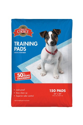 "Training pads by Grreat Choice, $39.99. <a href=""http://www.petsmart.com/product/index.jsp?productId=3641001"" target=""_blank"">www.petsmart.com</a>."