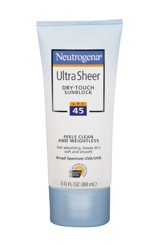 "Neutrogena's Ultra Sheer Dry-Touch Sunblock SPF 45, $9.49. <a href=""http://www.neutrogena.com/product/ultra+sheer+dry-touch+sunblock+spf+45.do?sortby=ourPicks "" target=""_blank"">www.neutrogena.com</a>."