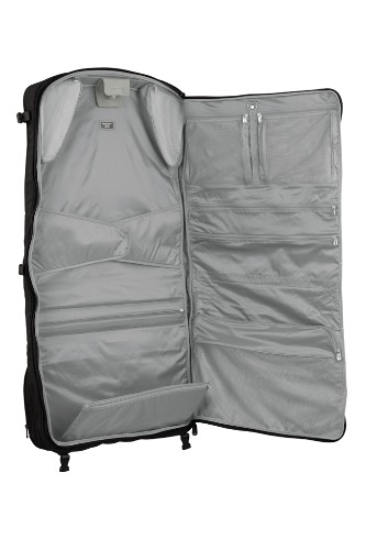 "Deluxe Wheeled Baseline Compact Garment Bag by Briggs & Riley, $549.00. <a href=""http://www.briggs-riley.com/category/productDetail.aspx?id=Deluxe-Wheeled-Garment-Bag_U376&col=baseline&cat=garment%20bags"" target=""_blank"">www.briggs-riley.com</a>."
