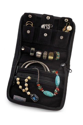 "Magellan's StowAway jewelry pouch, $16. <a href=""http://www.magellans.com/store/Packing_Aids___Jewelry___Eyewear_CasesLB987"" target=""_blank"">www.magellans.com</a>."