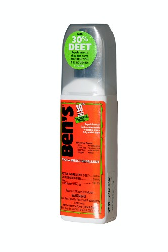 "30% DEET pump bug spray by Ben's, $6.50. <a href=""http://www.ems.com/product/index.jsp?productId=3665511"" target=""_blank"">www.ems.com</a>."