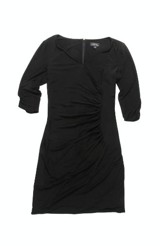 "Matte jersey 3/4-sleeve dress by Tahari by ASL, $118. <a href=""http://www.zappos.com/tahari-by-asl-bert-matte-jersey-3-4-sleeve-dress-black"" target=""_blank"">www.zappos.com</a>."