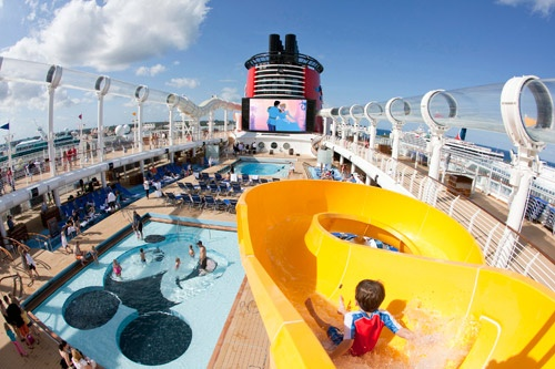 Disney Dream's pool deck, different from any other at sea. Photo by Disney Cruise Line/Jimmy DeFlippo