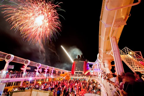 Onboard fireworks during the weekly pirates party. Photo by Disney Cruise Line/Matt Strokshane