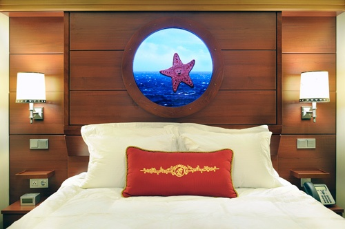 "An interior stateroom, featuring industry-first ""Magical Portholes."" Photo by Disney Cruise Line"