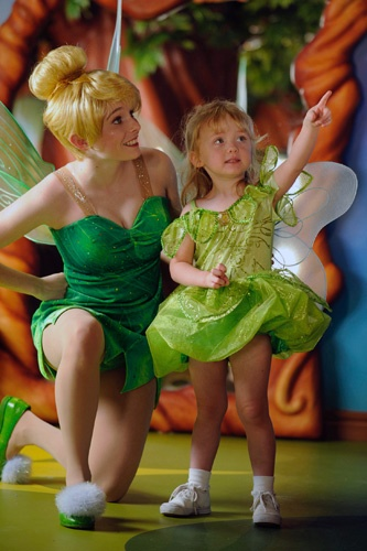 Tinker Bell and a faerie in training, at the kids' center. Photo by Disney Cruise Line/Diana Zalucky