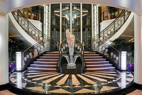The grand staircase aboard Oceania's Marina.