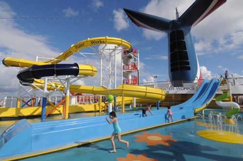 Waterslides on the lido deck of Carnival Imagination. Photo: Carnival Cruise Lines