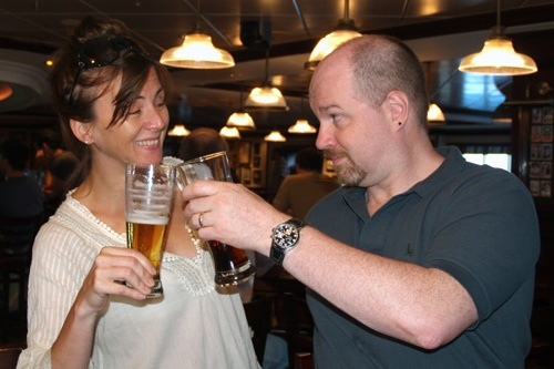 The author and his Frommer's co-author, Heidi Sarna, at O'Sheehan's aboard Norwegian Epic. Photo: Brian Major