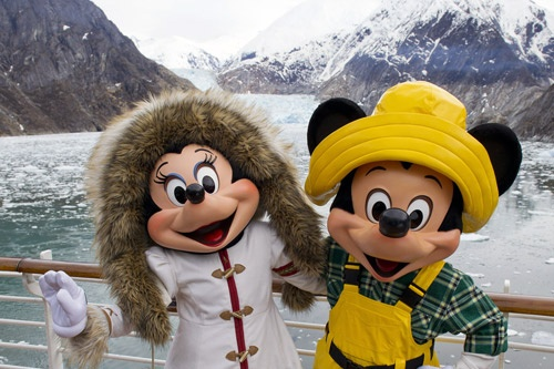 Mickey and Minnie on deck during Disney Wonder's first-ever Alaska cruise. Photo: Disney Cruise Line