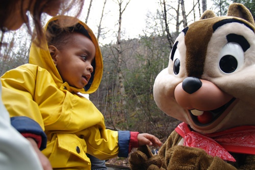 The author's son is introduced to Chip...or Dale. Photo: Matt Hannafin