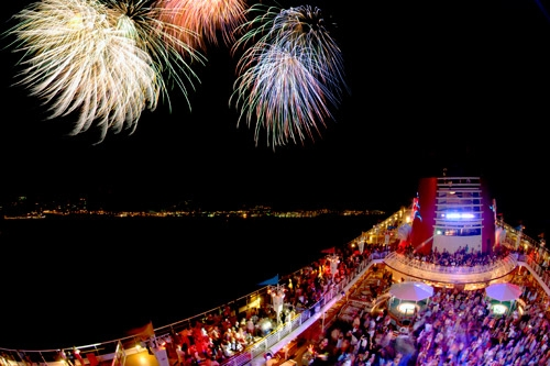 As part of the Pirates IN the Caribbean deck party, Disney Cruise Line guests enjoy awe-inspiring fireworks on the high seas.
