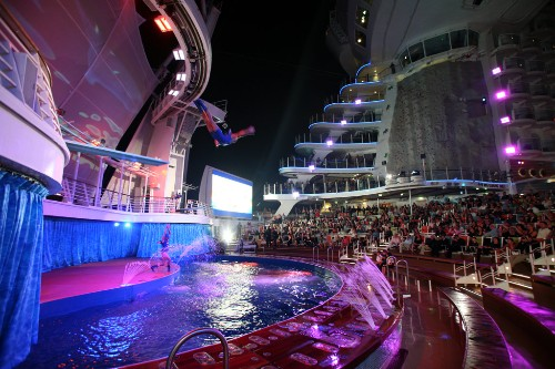The launch of Royal Caribbean International's Oasis of the Seas, the worlds largest cruise ship. Oasis Dreams at the Aqua theater.