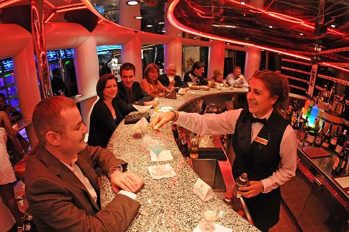 The Wine Bar aboard the Carnival Destiny offers a fine selection of vintages.