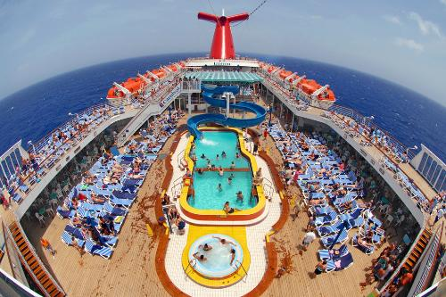 The pool deck of the Carnival Elation.